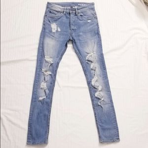 H&M, HIGH RISE light wash DISTRESSED SKINNY JEANS